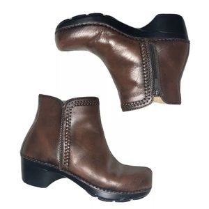 Dansko Womens Brown Zip Boots Ankle Booties